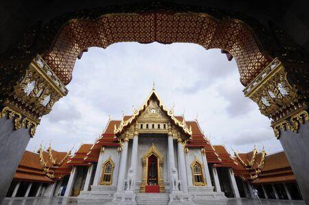 Wat Benchamabophit in Bangkok at Thailand Stock Photo