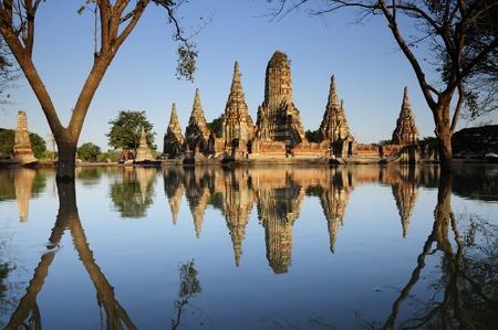 Wat chaiwattanaram in Ayutthaya the flooded