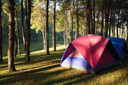 Camping site at lake side at sunrise