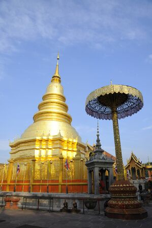 Hariphunchai temple at Lamphun, this famous pagoda in Thailand