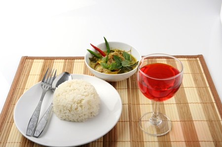 Chicken green curry with Rice photo