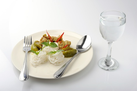 Chicken green curry with Rice vermicelli photo