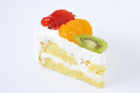 Fruit cheesecake homemade food on a white background.  Stock Photo
