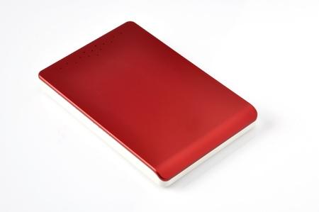 Red modern external hard disks on white