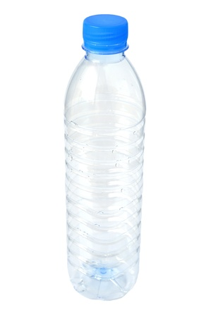 Empty plastic water bottle on a white background.