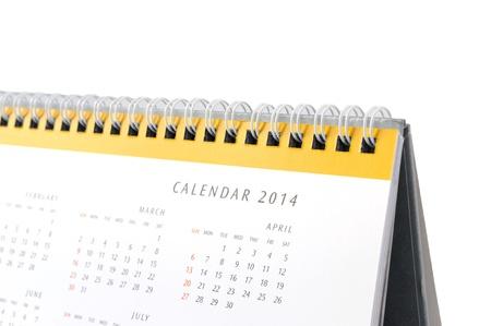 Desktop calendar 2014 on a white background.  photo