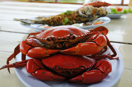 crab meat: Steamed shrimps and crab on a blue plate.