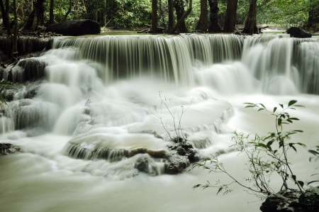 Waterfall with fresh leaves in Thailand
