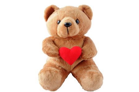 teddy bear cartoon: Teddy Bear Holding a Heart on white