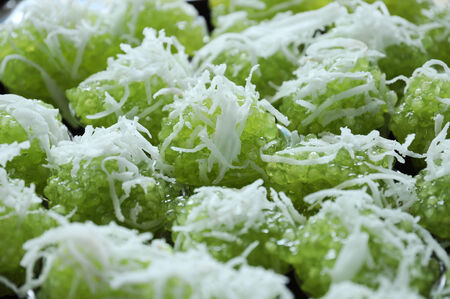 The green sago dessert with coconut  Stock Photo