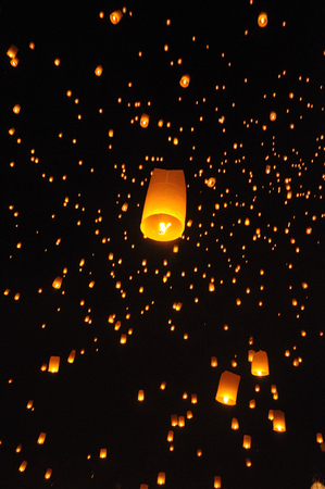 Lanterns floating on the sky in Loi Krathong Traditional Festival