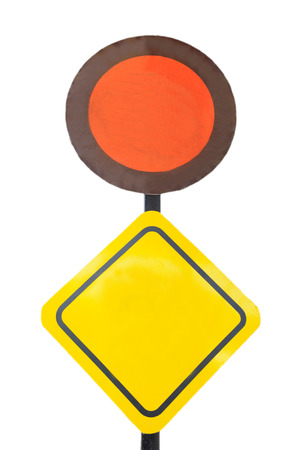 Orange signs and Yellow signs Stock Photo