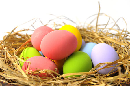 Colorful easter eggs in straw nest  photo