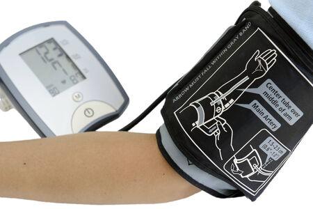 digital blood pressure gauge on white background