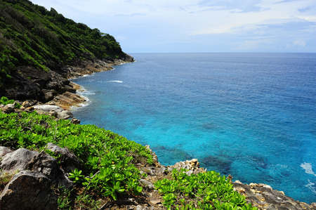 Viewpoint over the coastline on the island. Stock Photo