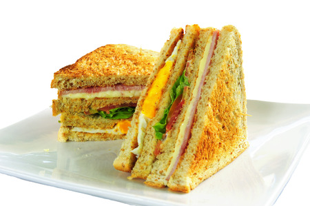 Grilled Club Sandwich on a white background