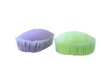 Green and Purple sponge Cake. Stock Photo