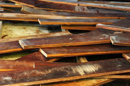 lumber industry: Folk planks for paving. Stock Photo