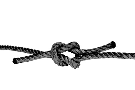 string together: Tied rope together and tie a knot.