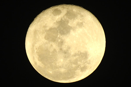 Full Cold Moon at Christmas day Stock Photo