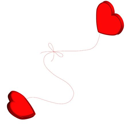 Two hearts tied together with red thread. Illustration