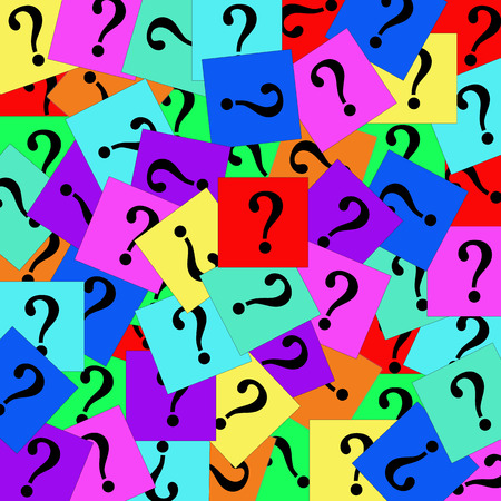 Pile of colorful question marks.