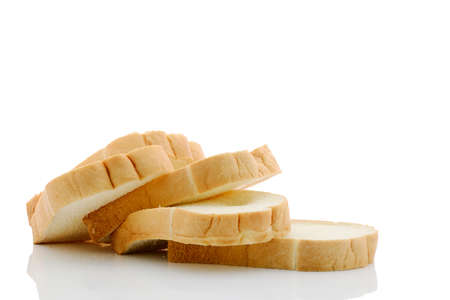 Rows of bread was sliced. Stock Photo