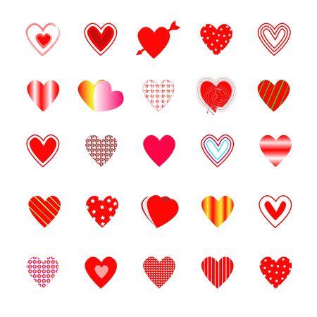 Variety heart shape on white background.