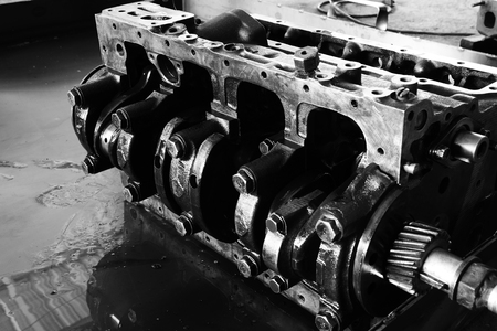 Black and white image of the crankshaft.