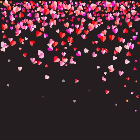 The black background was strewn with hearts shape.