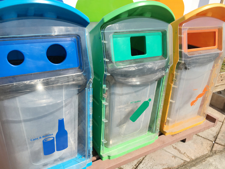 Recycle bin for each type of waste.  Stock Photo