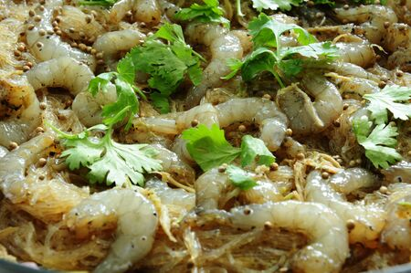 Shrimp baked with vermicelli is Thai food