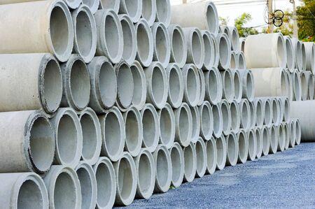 A pile of concrete pipe.