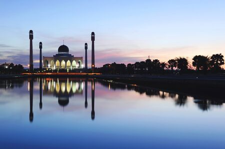 Sunset at Mosque Islamic place of worship.