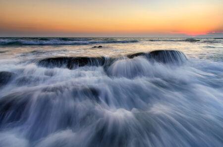 rayong: Movement of the wave at Lanhinkhao, Maeramphueng Beach, Rayong, Thailand