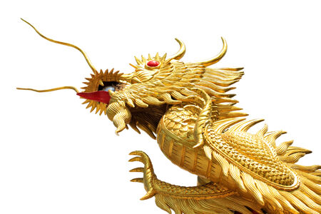 Giant golden Chinese dragon on isolate background photo