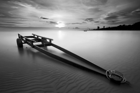 boat trailer: The boat trailer at Kon Ao Beach in black and white, Rayong, Thailand Stock Photo
