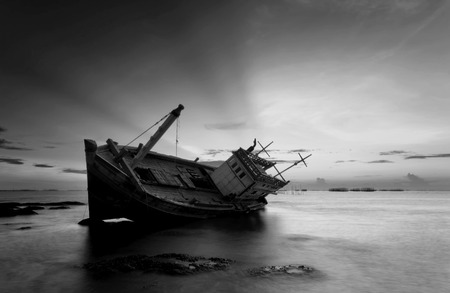 The wrecked ship in black and white, Thailand photo