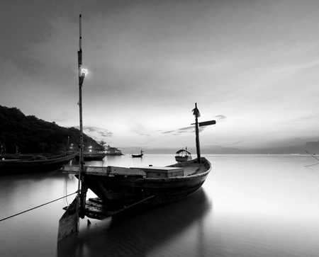 reflexive: The fishing boat at Kon Ao Beach in black and white, Rayong, Thailand