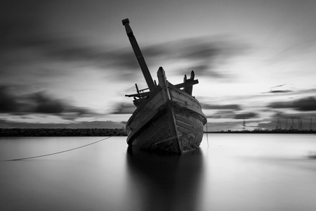 reflexive: The wrecked ship in black and white, Thailand