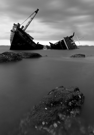 The wrecked ship in black and white , Thailand photo