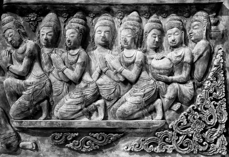 lintel: Decorative lintel in black and white, Thailand Stock Photo