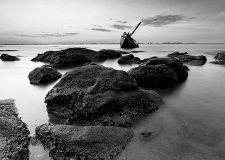 reflexive: The wrecked ship in black and white , Thailand