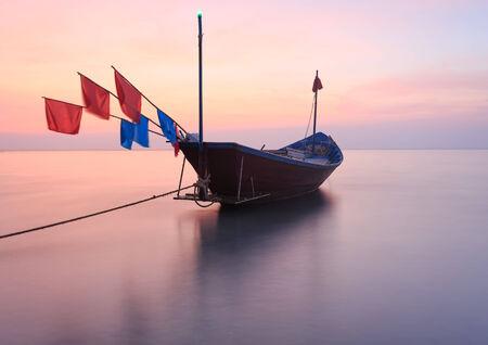 murk: The fishing boat at Kon Ao Beach, Rayong, Thailand Stock Photo