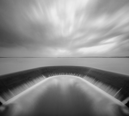 Spill way of water reservoir in black and white, Thailand