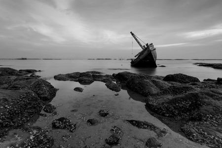 wrecked: The wrecked ship , Thailand Stock Photo