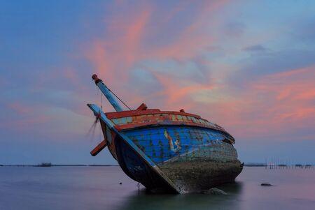 reflexive: The wrecked ship  , Thailand Stock Photo