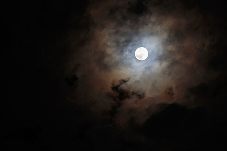 Blurred - dark stormy sky with moon Stock Photo
