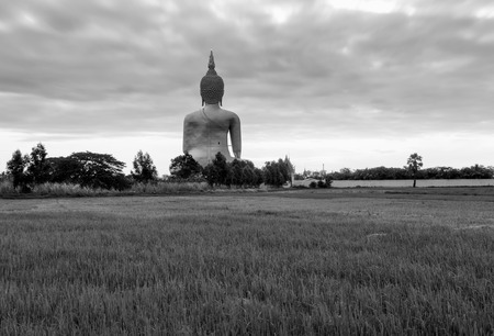 The Greatest, Biggest and Tallest Buddha of Thailand , Black and white photo