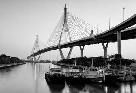 bhumibol: Bhumibol Bridge in black and white, Thailand Stock Photo